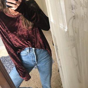 WILT merlot velvet notch hem asymmetric pullover